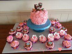 Pink Owl Cake & Cupcakes