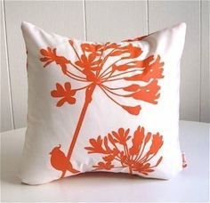 Orange Print on Off-White Cardinal on Agapanthus-Mini 10.5 Inches Square Pillow by joom on Etsy https://www.etsy.com/listing/53483654/orange-print-on-off-white-cardinal-on