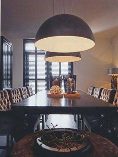 Mooie lange sloophouten eettafel styling inrichting vive la maison te hendrik ido ambacht - Eigentijdse hangerlamp ...