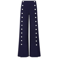 Tory Burch Carrie Pant found on Polyvore featuring pants, trousers, navy blue, blue trousers, blue high waisted pants, high-waisted trousers, high rise pants and navy blue trousers