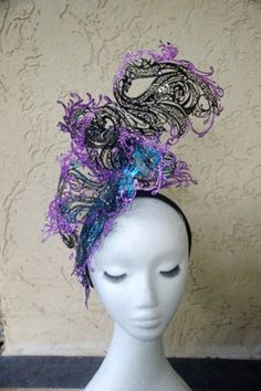 Designer metal lace fascinator one of a kind. Sliver sculpure statement on headband races, cup fashions on the feild by TwistedInTheTropics on Etsy Fascinator, Headpiece, Vintage Fashion, Vintage Style, Head Games, Metal, Lace, Handmade, Design