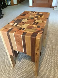 A full coffee table made from scrap timber off-cuts.