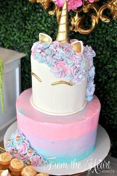 Unicorn cake from a Vibrant Unicorn Birthday Party on Kara's Party Ideas | http://KarasPartyIdeas.com (9)