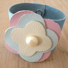 pastel leather pearl button cuff bracelet by RedHotYellowLeather
