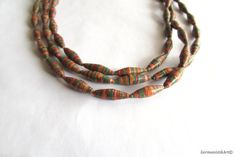 3 Strand Paper Bead Necklace - $40.00 - Etsy - Quilled by GermanistikArt