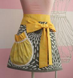 Towel Waist Apron  Yellow and Grey Starburst by KitchenGlam, $20.00
