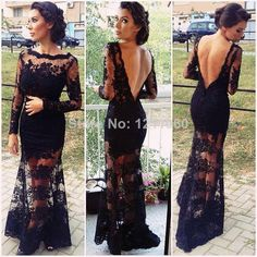 Lace Evening Dress 2014 See Through Scalloped Long Sleeve Open Back Floor-length Long Black Lace Gown Formal Evening Dresses $114.00
