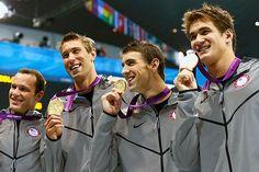 2012 London: Men of USA swim team w/their gold 4x100m medley relay Michael Phelps last race of his career 8/4/2012
