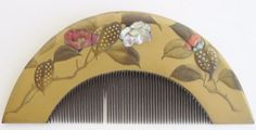 Fine-Old-Japanese-Gilt-Lacquer-Wood-Carved-Coral-MOP-Inlay-Geisha-Hair-Comb