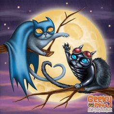 Batcat and Catwoman - 8x8 art print - Batman cat and Catwoman cat have a love hate relationship in front of a full moon by GeekyPet on Etsy https://www.etsy.com/listing/107428979/batcat-and-catwoman-8x8-art-print-batman