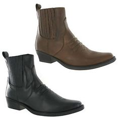 Gringos Gusset Western Cowboy Mens Leather Pull On Ankle Boots UK6-12 | eBay