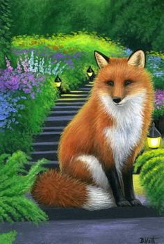 Red fox wildlife garden steps lights flowers limited edition aceo print art #Realism