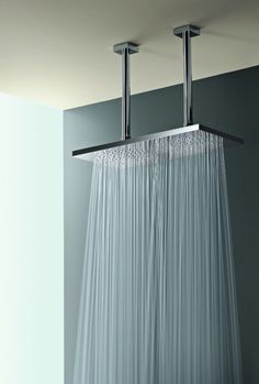 I would stay in the shower for hours! Ceiling Mount Double Shower Head - Home Decorating Magazines