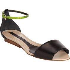 Narciso Rodriguez Wide Band Sandal with Lizardskin Ankle Strap at Barneys.com