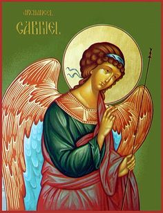 The Angel Gariel - I haven't seen this exact one before. I like the open space at right. I shows possibility and movement. Byzantine Icons, Byzantine Art, Religious Icons, Religious Art, Catholic Archangels, Saint Gabriel, Religion, Religious Paintings, Archangel Michael