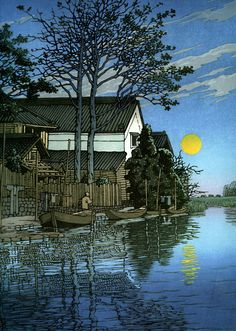 ✤ Autor Kawase Hasui. Anochecer en Itako. Grabado en madera.