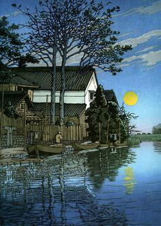 Evening at Itako, by Hasui Kawase, 1930. Woodblock print.
