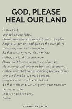 God, Please Heal Our Land (In A Time Of Coronavirus) - The Blissful Chapter Prayer Scriptures, Bible Prayers, Faith Prayer, God Prayer, Prayer Quotes, Power Of Prayer, Faith In God, Faith Quotes, Good Morning Prayer