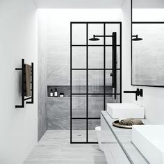 VIGO Mosaic H x to W Framed Fixed Matte Black Shower Door at Lowe's. The pioneer of new bathroom design, VIGO introduces the Mosaic Fixed Frame Shower Screen. Offering a fresh new look but the same great construction as Glass Shower Panels, Glass Panels, Shower Screens, Glass Panel Wall, Black Shower, Wet Rooms, Bathroom Interior, Wet Room Bathroom, Black Bathroom Paint