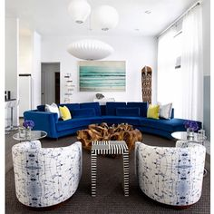One of our favorite clients, interior designer  @fawngalliinteriors pitches Eskayel for almost every project – luckily enough for us! We love how her interiors have an element of surprise and unexpectedness in the way she pairs pieces together. She kindly just sent us these beautiful images of projects where she has specified Eskayel.  Especially love these barrel-backed chairs upholstered with our splatter spell fabric across from the epic royal blue curved velvet sectional.  See more on…