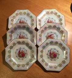 Set of 6 Victorian Couple dessert plates by LosChapines on Etsy