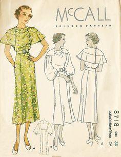 McCall 8718 | 1930s Ladies' & Misses' Dress