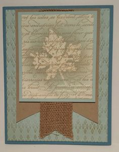 Gently Falling by Stampin Up, Marina Mist, Soft Sky, Crumb Cake, En Francais, Burlap. Pretty Autumn card in soft blue tones.