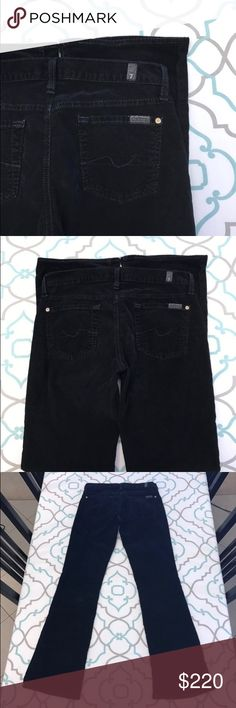"""💙👖Beautiful! 7FAM Black Cords👖💙26 1/2 31""""  EUC 💙👖Beautiful! 7 For All Mankind Cords👖💙 Gorgeous Black Color. Not quite Jeans. ; ) But Amazing Bootcut Fit. Corduroy Fabric. Size 26 (1/2). 31"""" Inseam. 7.25"""" Rise. 14.5"""" Across Back. Great Stretch. Excellent Used Condition. Awesome! 7FAMK! Anthro! Anthropologie! Ask me any questions! : ) 7 For All Mankind Jeans Boot Cut"""