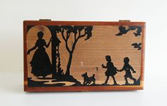 Vintage Wood Carved Silhouette Box  Family by @GrannyPantyDesigns #sfetsyteam