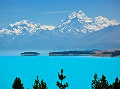 Australia's Pink Lake, and Other Oddly Colored Bodies of Water - Condé Nast Traveler  Lake Pukaki South Island, New Zealand The vibrancy of Lake Pukaki on New Zealand's South Island is enough to dull the clearest blue sky. This large alpine lake gets its color from the fine-grained minerals running off of the surrounding glaciers. (© All Canada Photos / Alamy)