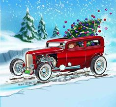 Holiday Hot Rods and Pin-Up Girls | Car & Truck Cartoon Art ...
