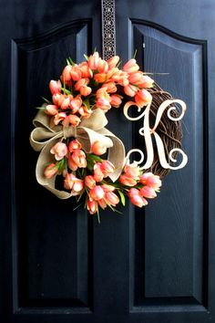Festive Floral and Burlap Monogram Wreath