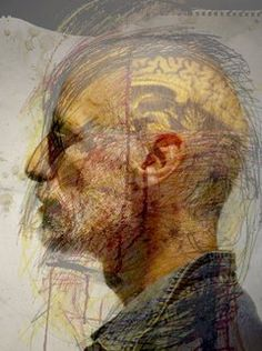 Artist Jon Sarkin in a photo illustration combining his self-portrait using colored pencils, a photograph of Sarkin by The Star-Ledger's Jennifer Brown and an MRI scan of his brain.