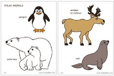 polar animals coloring page and printables for standing animals winter party pinterest. Black Bedroom Furniture Sets. Home Design Ideas