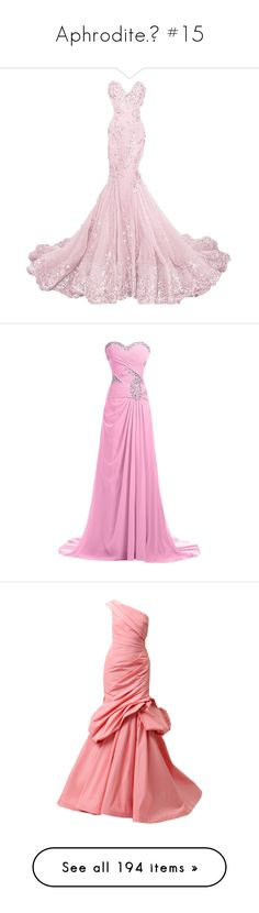 """""""Aphrodite.♡ #15"""" by xiuchen-was-taken ❤ liked on Polyvore featuring dresses, gowns, long dresses, pink, long white evening dress, formal gowns, formal evening gowns, prom gowns, long evening dresses and prom ball gowns"""