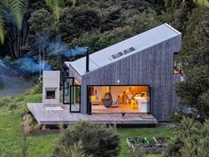 The star of the home would be the main level's living and dining area, which opens onto the expansive deck by way accordion glass doors. Garden Architecture, Architecture Plan, Sustainable Architecture, Architecture Definition, Architecture Quotes, French Architecture, Classical Architecture, Ancient Architecture, Cabana