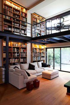 Home Interior Design — modern contemporary living room with mezzanine (. Modern Contemporary Living Room, Contemporary Interior Design, Home Interior Design, Interior Architecture, Interior Ideas, Luxury Interior, Rustic Contemporary, Contemporary Stairs, Luxury Rooms