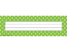 Lime Polka Dots Name Plates (flat)
