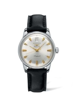 Longines Heritage men's automatic black leather strap watch