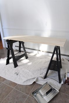 Easy Ikea Alex Table Top Desk Hack Ikea Alex Desk, Ikea Desk, Craft Room Storage, Room Organization, Storage Ideas, Home Office Space, Home Office Design, Ikea Table Tops, Desk For Two