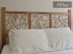 Fantastic, artistic handmade wooden headboard made with pine and wicker. Brilliant! #DIY #headboard