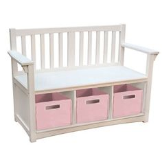 Guidecraft Classic Storage Bench with Fabric Bins (White/ Pink)