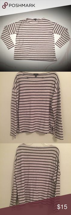 J. Crew striped t-shirt Black and grey striped tee from J.Crew. Comfortable and in great condition. J. Crew Tops Tees - Long Sleeve
