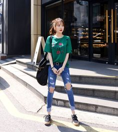 DEEPNY - Rose Print Distressed T-Shirt