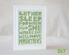 5x7 Baby Nursery Art LET HER SLEEP... Napoleon Quote Let Him Sleep  College Dorm Decor