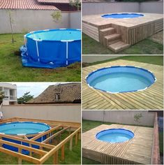 21 Easy and Inexpensive Floating Deck Ideas For Your Backyard Plastic pool with wooden deck Designs Swimming Pool Decks, Small Backyard Pools, Diy Pool, Small Pools, Backyard Ideas, Small Patio, Pool And Deck Ideas, Fence Ideas, Piscina Diy