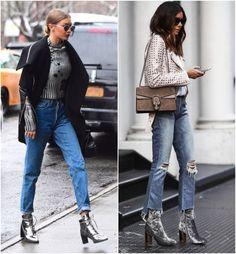 Ankle Boot Prateada e suas combinações no dia a dia. Perfeita combinação com jeans, ótima para ocasiões do dia quanto da noite