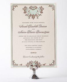 Woodland Damask Letterpress Wedding Invitation