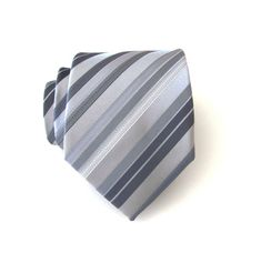 Necktie Silver Gray Stripes Mens Tie with Matching by TieObsessed