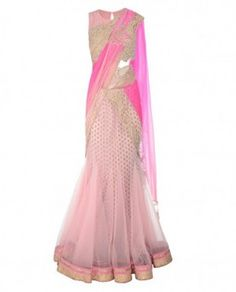 Blush pink lengha sari with embroidered blouse
